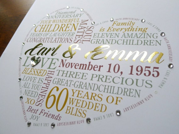 Gift Ideas For 60th Wedding Anniversary For Parents: Personalized 60th Anniversary Gift For Parents Grandparents