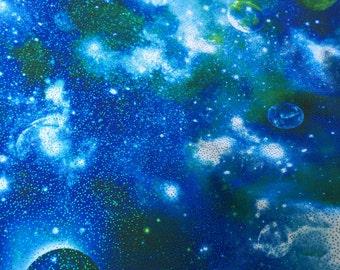 """Blue Tie Dye Galaxy 4 Way Stretch Spandex Fabric - Sold By The Yard - 60"""""""