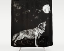 Kids drawing wolf Shower Curtain - black and white shower curtain - wolf bathroom decor - black and white bathroom decor- 71x74 inch