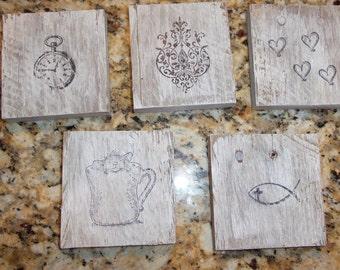 Rustic pallet wood coasters - set of 4