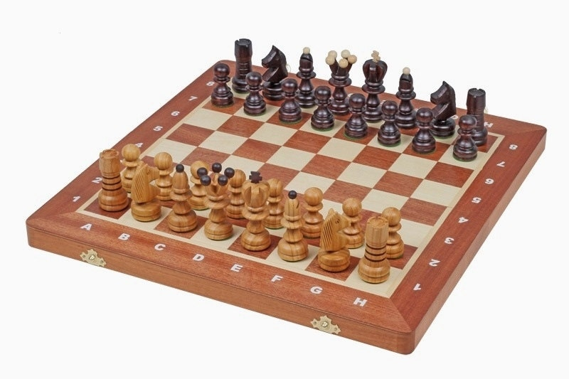 Brand new hand crafted pearl large wooden chess set great for Hand crafted chess set
