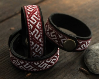 Leather bracelet/ ancient Latvian ornament/ Free shipping