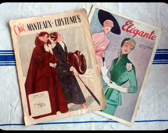 2 Vintage French Fashion Magazines from winter 1952