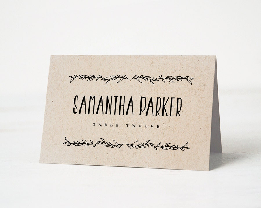 Printable place card template wedding place cards editable for Free place card template