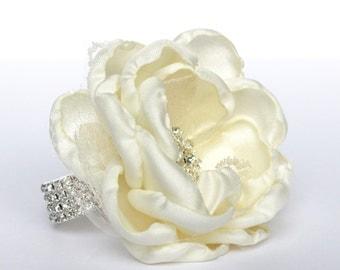 White Wrist Corsage , Ivory Wedding Wrist Corsage , White , Rhinestone and Lace Wedding Wrist Corsage