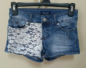 Jean destroyed shorts, Size 00 Upcylced/Altered (Waist 25 in)  // Distressed Shorts // Size 00 Shorts // Pocket Shorts // Upcycled Shorts //