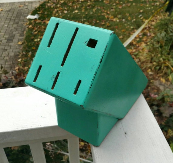 Painted Knife Block: Large Knife Block Painted Turquoise And Hand Distressed
