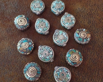 Turquoise Mosaic Beads, Handcrafted in Tibet (Sold Individually)