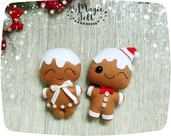 Christmas ornaments felt SET of 2 Gingerbread man ornaments felt Christmas ornament New Year decor Christmas Tree decorations