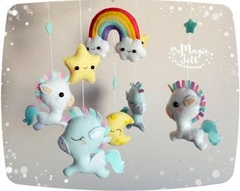 Baby mobile unicorn rainbow Baby mobile pegasus Rainbow and Stars baby mobile magic Crib mobile neutral nursery mobile Baby girl mobile