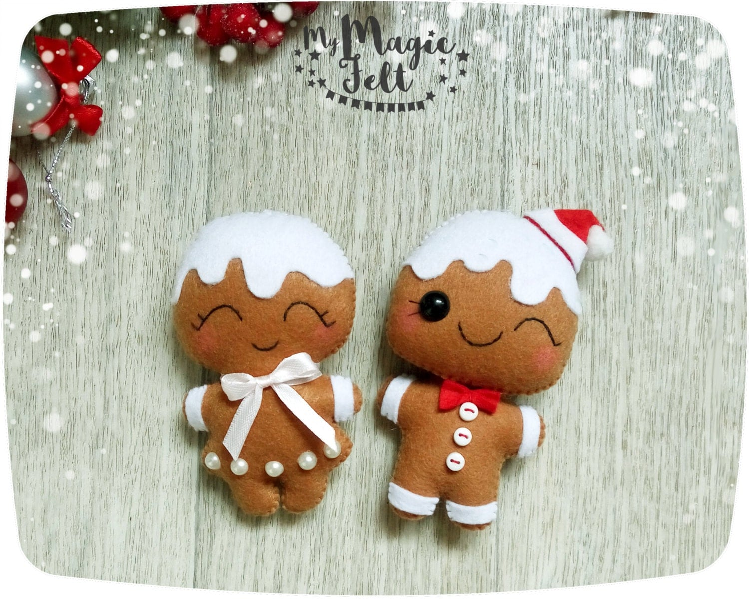 Christmas ornaments felt gingerbread man ornaments felt for Cute christmas decorations