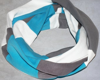 Organic Cotton Infinity Scarf - Colorblock Women's Scarf - Organic Cotton Women's Accessories - Blue, Gray and White Infinity Scarf