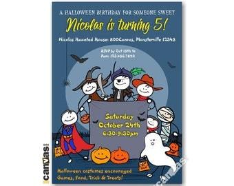 Halloween Birthday Invitation, Halloween Invitation, Boo-thday Party, Trick Or Treat, Boys, Girls, Kids Birthday Printable Invitation HL07