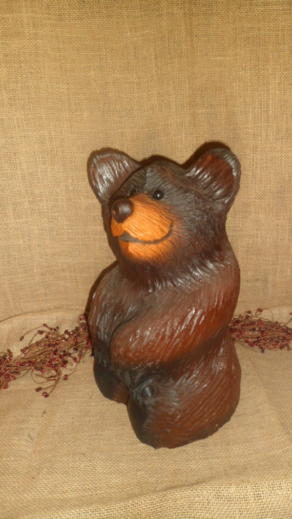 Chainsaw hand carved black brown bear rustic log cabin