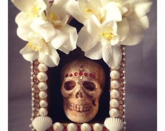 SALE CLEARANCE Art Skull Shrine Gothic Shadow Box Reliquary Decorative Dark Macabre