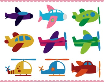 Plane Clipart, Airplane Clipart, Plane PNG, Helicopter Clipart, Baby Airplane Clipart, Transport Clipart,  Instant Download