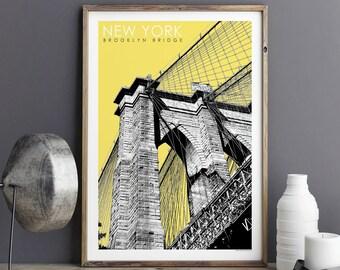 City Prints, New York Print, Travel Poster, Brooklyn Bridge, New York Gift, Large Wall Art Prints