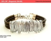 Bronze leather bracelet, Wrapped bracelet, Statement bracelet, Silver bracelet, For any occasion, Stylish leather bracelet, Charm.