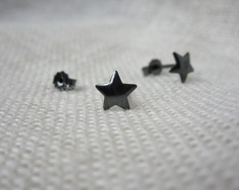 Tiny Silver Star Studs - Sterling Minimal Stud Earrings - Silver Small Star Earrings - Oxidized Silver Star Studs - Black Star Earrings
