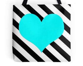 Aqua Heart Bag, Aqua Tote Bag, Aqua Heart Stripe Bag, Aqua Heart Tote, Aqua Bag, Aqua Purse, Aqua Tote, Aqua Heart Bookbag, Aqua Black Bag
