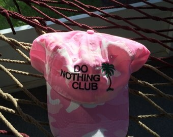 """Do Nothing Club - Pink Camo with Black Lettering - """"President"""" with a palm tree on the back"""