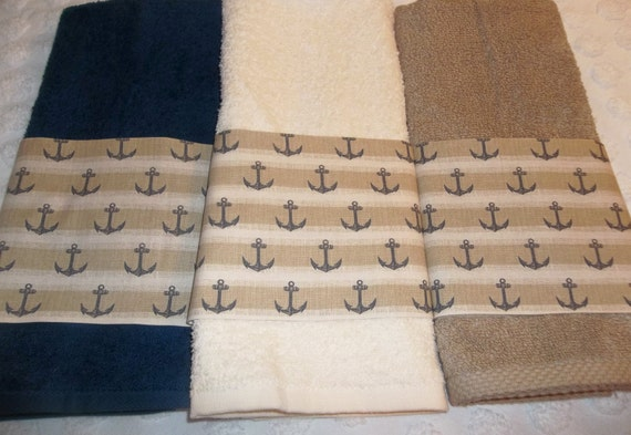 Nautical Anchors Hand Guest Towels Tan Navy By