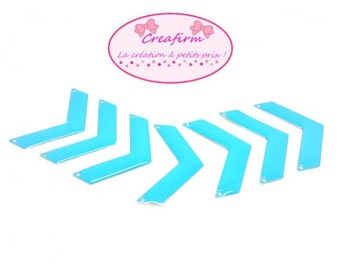 20 connectors Triangle Chevron 30x10mm Color Turquoise