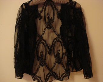 VINTAGE Black Lace Evening Top - Bed Jacket.  Black mesh lace dressy top. Victorian Era Mesh Top. Size 0 - 2.