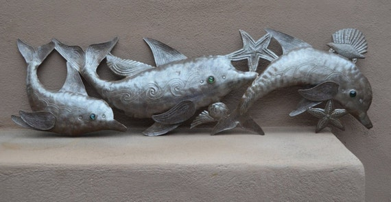 "Dolphin Sealife Wall Art, Beach, Ocean, Sculpture, Recycled Steel Barrel, Haiti, Metal, 33"" x 10"""