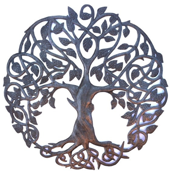 Family roots tree of life large outdoor wall by for Daylight designs metal garden art