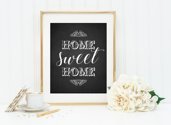 Home sweet home digital print typography wall art printable art instant download home decor wall poster digital download wall print