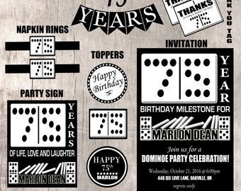 Domino Birthday Party Set - Printable Party Items