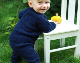 SALE 15% OFF Hand Knitted Pure Merino Wool Baby, Toddler and Kids Cardigan in Navy Blue and Burgundy - More Colors