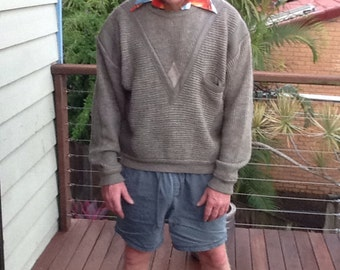 MENS VINTAGE slouchy 80's jumper leather patina