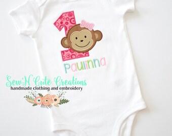 Monkey Girl First Birthday, Monkey, Birthday, First Birthday, Embroidery