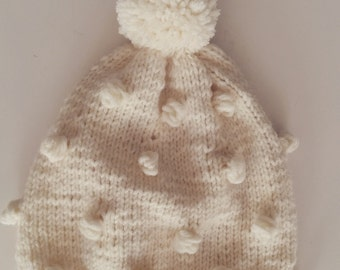 Knit hat popcorn model with pompom for baby , toddler , child and adults