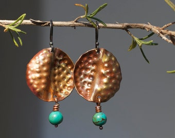 Bohemian earrings Earthy Tribal earrings Rustic copper earrings Boho jewelry Boho earrings Turquoise earrings Patina earrings Tribal jewelry