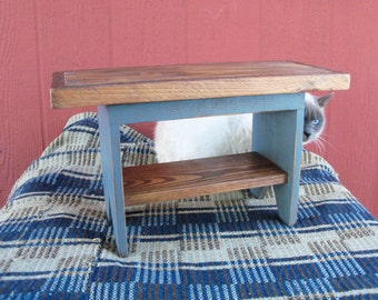 Rustic Stool in Blue and Natural
