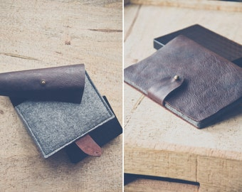 HDD Case made to measure vintage Leather and Felt PORTABLE HARD Disk case / Hard drive case wallet / Genuine italian leather