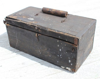 Rustic Old Wood Tool Box - Distressed Black Paint, Wooden Handle- Farmhouse Style