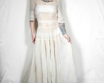 Vintage 1940s Wedding/Communion Sheer Gauzy Dress, Zip Side Closure