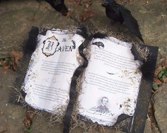 Edgar Allen POE SPELL BOOK The Raven Crow Halloween Decoration Spellbook Witch Book of Spells