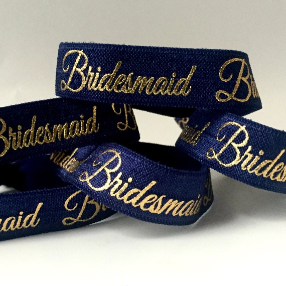 Navy and Gold Bridesmaid Hair Tie-Set of 4