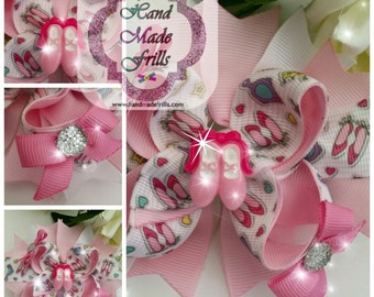 Princess Hair bow, Tiara n Heels Fancy Stacked Boutique Hair Bow