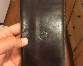 LEATHER wallet by Carlo Amboldi Made in Italy - brown clutch bifold money clip