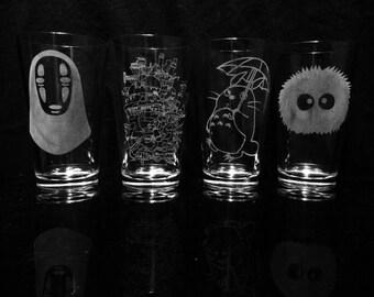 Studio Ghibli -Pint Glasses - Set of 4 -Howl's Moving Castle -My Neighbor Totoro -Spirited Away
