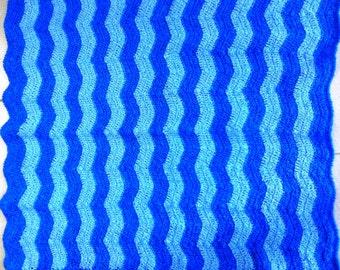 Blue Baby Afghan Crocheted  Baby Blanket Handmade Ripple Pattern Cot/Pram/Bassinette Blanket