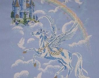 Unframed Greek Mythology Pegasus Horse Completed Cross Stitch - Rainbow Cross Stitch - Fantasy Castle Cross Stitch *UK FREE POSTAGE*