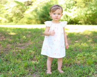 Girls Dress, Toddler Dress, Baby Dress, White Dress, Gold Dress, Spring Dress, Summer Dress, Spring Outfit, Summer Outfit, Sundress