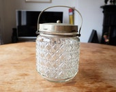 Vintage 1920's Aridor storage Jar / biscuit Barrel glass/crystal with silver plate E.P.N.S. lid